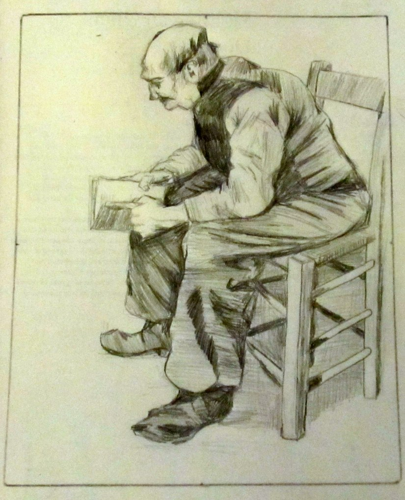Copying a Master Drawing: Man Reading the Bible, by Vincent VanGogh