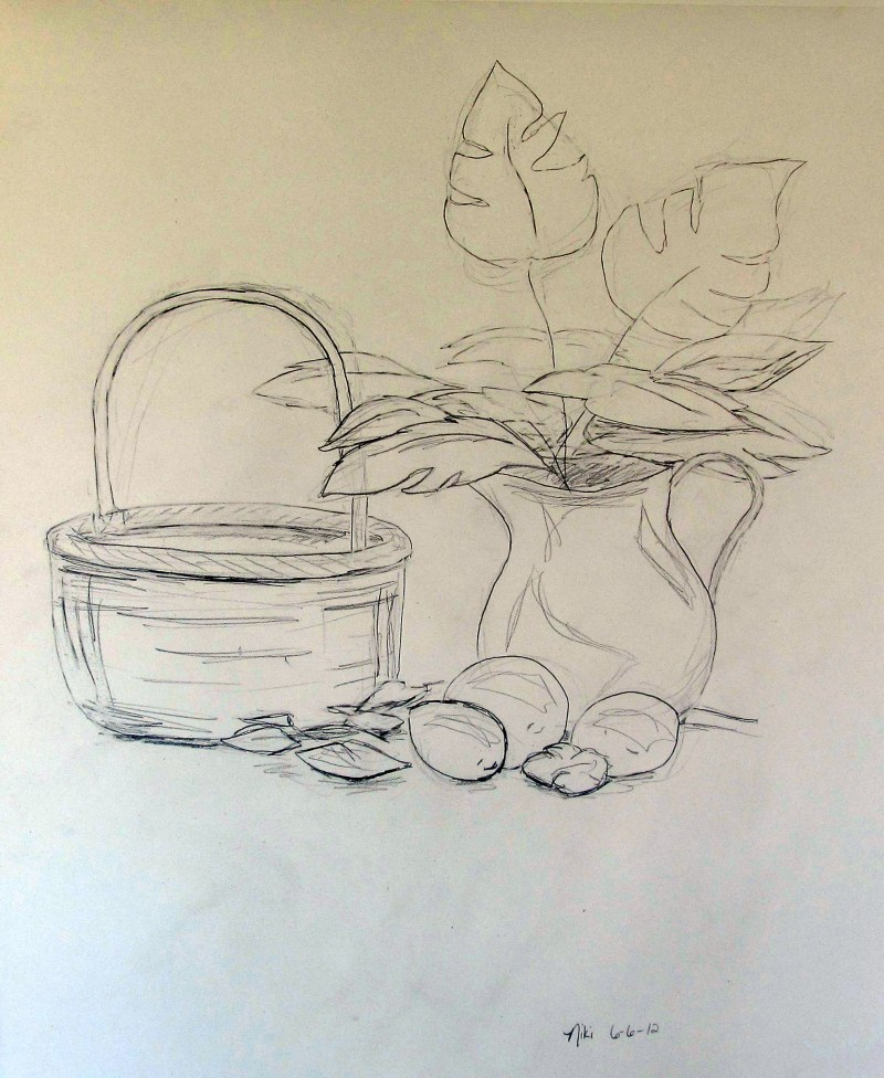 Line Drawing Still Life : Contour line minute gesture drawing still life niki